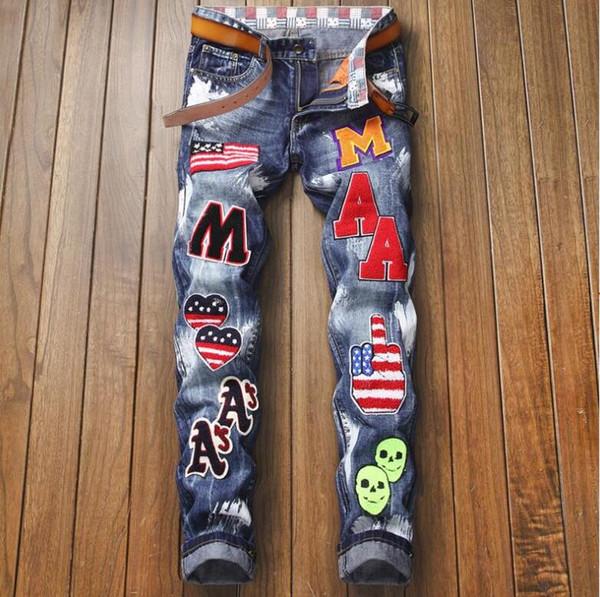 Мужские джинсы высокого качества, больше надписей, промытые панк-джинсы Дизайнерские мужские джинсы Известный бренд Slim Fit Мужские джинсы с принтом Байкерские джинсовые брюки