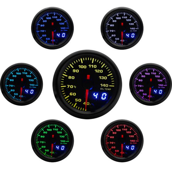 2 inch 52mm 7 Colors LED Car Oil Temp Gauge 40-140 Celsius Oil Temperature Analog/Digital Dual Display Car Meter With Sensor