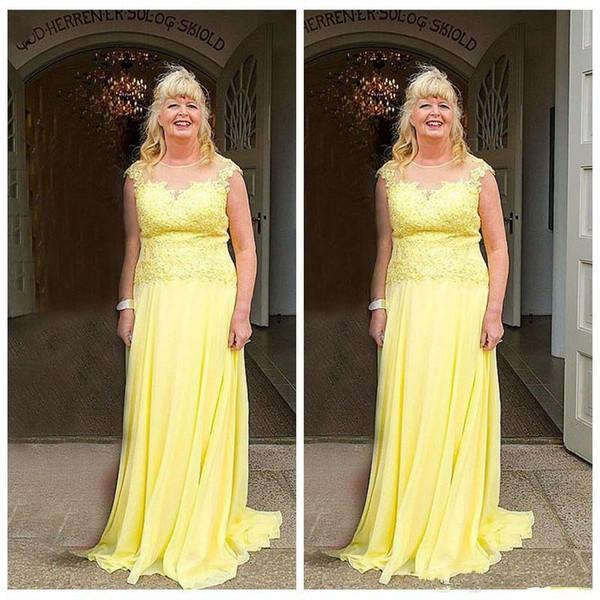 Vestido largo y amarillo de la madre de la novia Columna transparente Longitud del piso de gasa con encaje Vestido 2019 Vestido de la madre del novio
