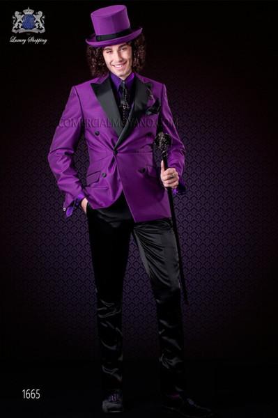 Фиолетовый Атлас Жених Смокинги Двубортный Мужчины Свадебные Смокинги Пик Отворотом Куртка Блейзер Мода Мужчины Ужин/Darty Костюм(Куртка+Брюки+Галстук) 1286