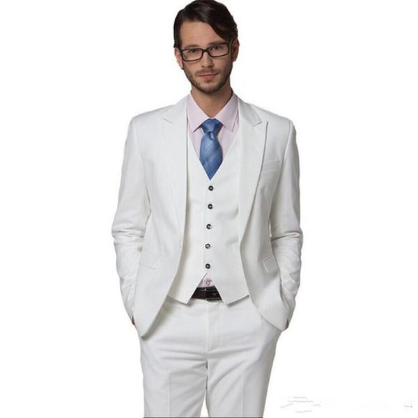 ivory Terno masculino 5pcs Men clothing slim men suit white wedding suits white suit costume homme (jacket+pants+tie+vest)