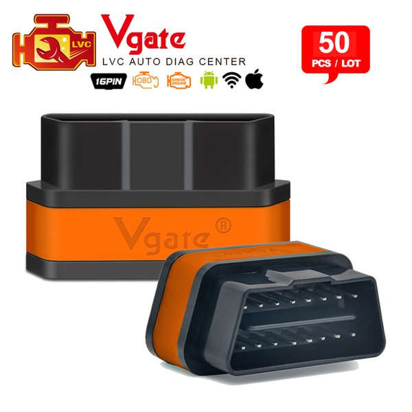 50pcs/Lot Vgate iCar2 ELM327 Wifi OBD2 Diagnostic Tool for IOS iPhone iPad Android Vgate icar 2 wifi ELM 327 wifi Code Reader