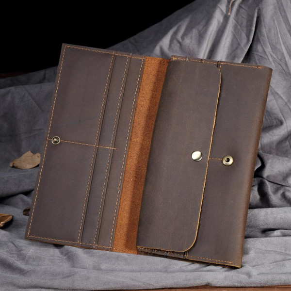 2019 Luxury Long Crazy Horse Real Cow Genuine Leather Bifold Wallets Men Clutch Vintage Purse Handy Bag Handmade Solid Brown