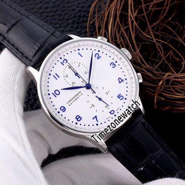 Cheap New 41mm IW371446 White Dial Miyota Quartz Chronograph Mens Watch Steel Case Leather Strap Stopwatch Watches 7 Color Timezonewatch