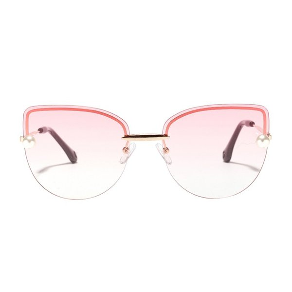 Randlose diamantförmige Cat Eye-Rahmenlose Sonnenbrille Big Frame Shades Klare, farbige Linse Festival Eyeglass Blue Pink Lens UV400