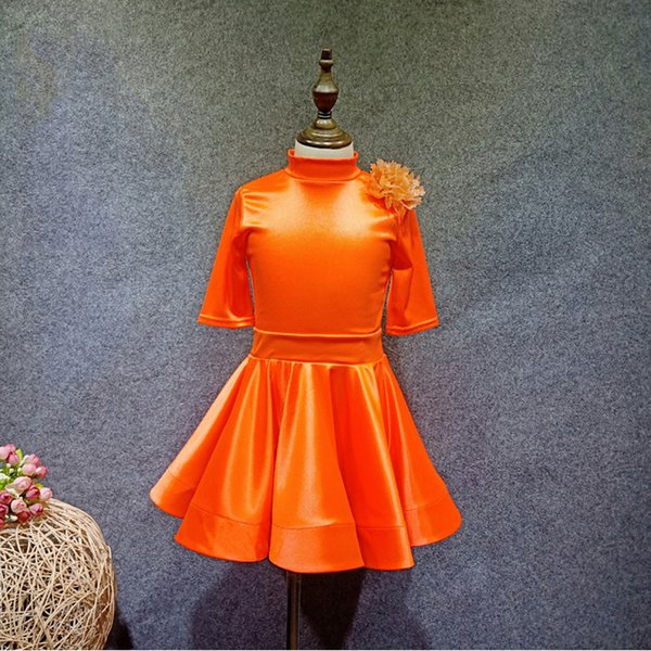 New Children'S Latin Dance Dress Costume Competition Girls Orange Stretch Satin High Collar Fish Bone Skirt Suit 2 Pieces DL3211