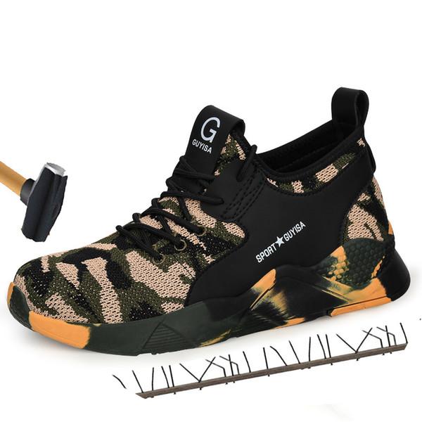 2019 erkek Çalışma Ayakkabı Çelik Burunlu Iş Güvenliği Botları Erkek Kamuflaj Ordu Yeşil Delinme Geçirmez Çizmeler zapatos de segurida