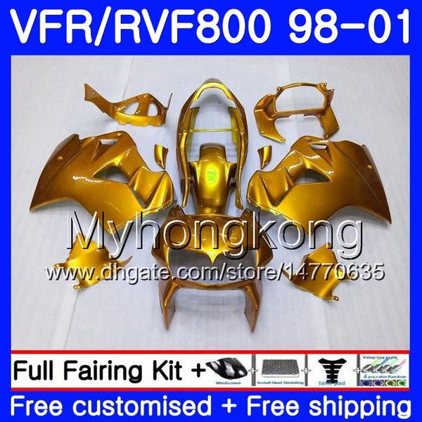 Body For HONDA Interceptor Brillant Or VFR800R VFR800 1998 1999 2000 2001 259HM.32 VFR 800RR VFR 800 RR VFR800RR 98 99 00 01 Kit de carénage
