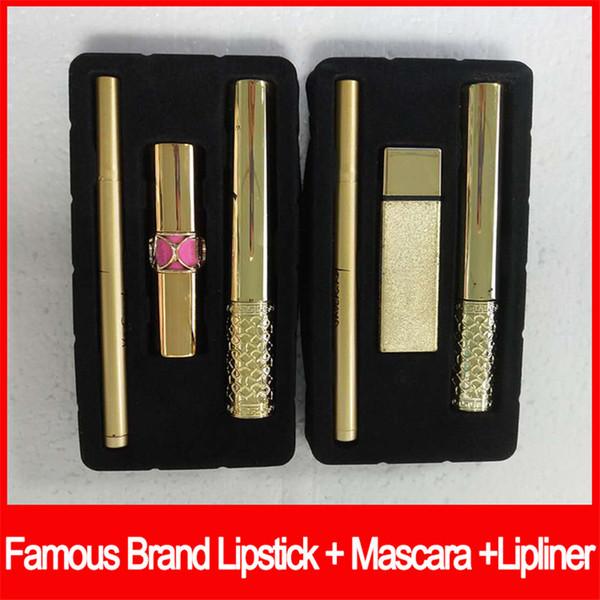 Famosa marca y maquiagem batom rímel preto rímel 3 em 1 conjuntos de maquiagem delineador kit de cosméticos