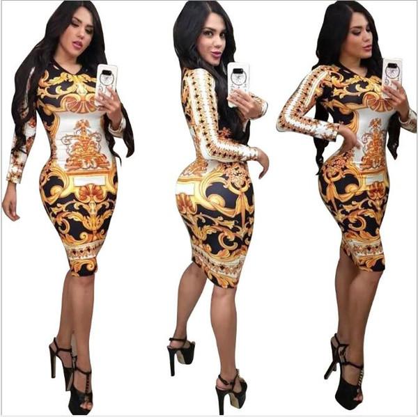 Kadınlar Elbiseler Stretch Parti Elbise Skinny Kulübü Aşınma Lüks Desen Çoklu tarzı BODYCON Çiçek Bayan Giyim Boyut S-XL yazdırın.