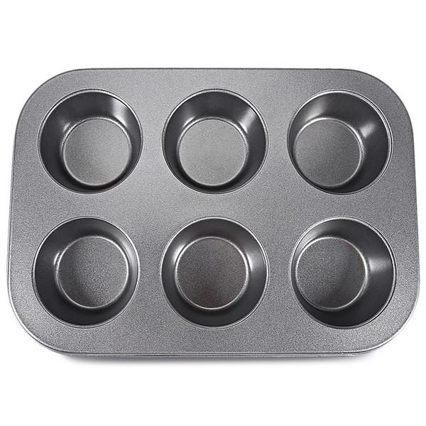 6 Cups Muffin Cake Mould Pan Bakeware DIY Baking Tools Non-stick Metal Cupcake Mold Egg Tart Baking Dish Pastry Tools Kitchen Tool Cookware