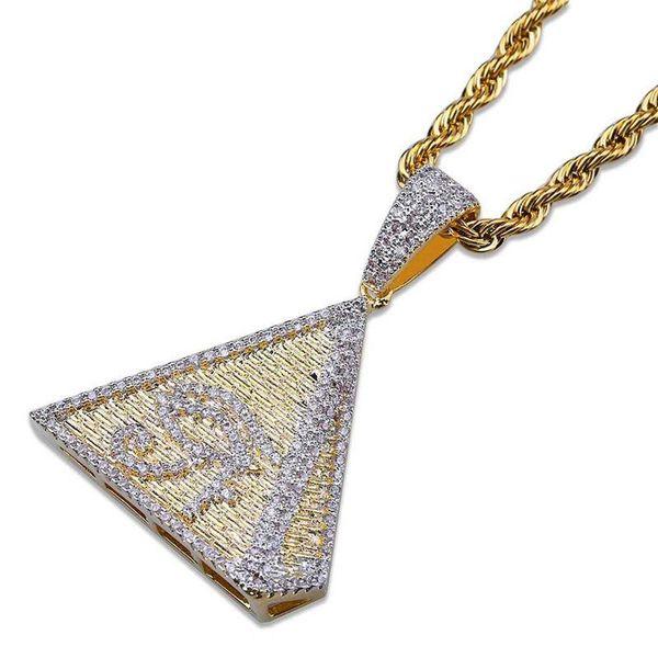 Full Diamond Pyramid Eye Colliers Chaude De La Mode Unisexe Pyramid Pendentif Colliers De Luxe 18 K Or Plaqué Chaînes Charmes Collier Couples Cadeaux