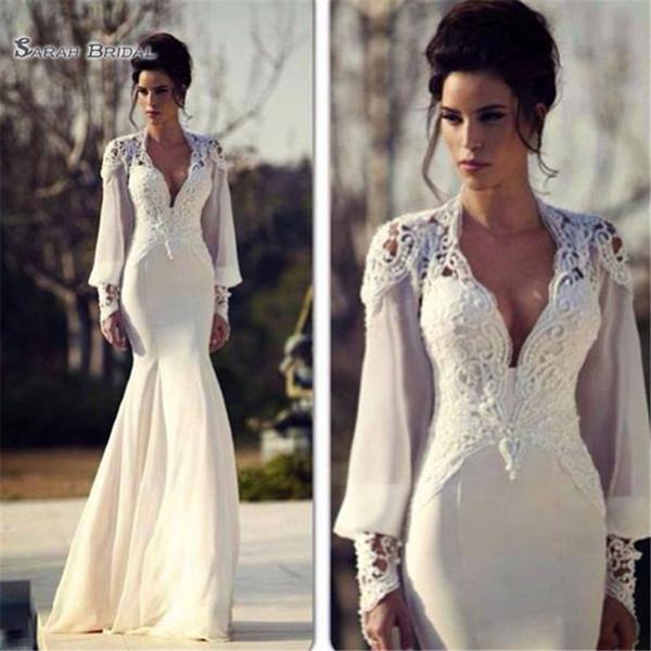 2019 Vestido De Fiesta Vintage Aline Long Sleeves Wedding Dress Chiffon Detachable Tulle V Neck Bridal Gown Vestidos De Novia