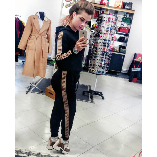 Women Designer Tracksuits 2019 Spring Autumn New Hoodies + Pants Two Piece Set for Women Fashion Letter Print Luxury Tracksuits