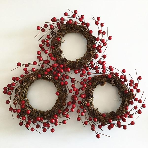 1PCS New imitation berry Christmas wreath berry pine tower Christmas decorative wreaths interior decoration photography use.