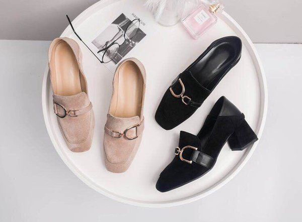 2019 new European Designer spring summer authentic cashmere leather women high-heeled metal buckle accessories women shoes dress shoes