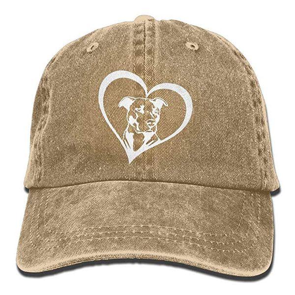 2019 New Designer Baseball Caps Print Hat Pit Bull Heart Mens Cotton Adjustable Washed Twill Baseball Cap Hat