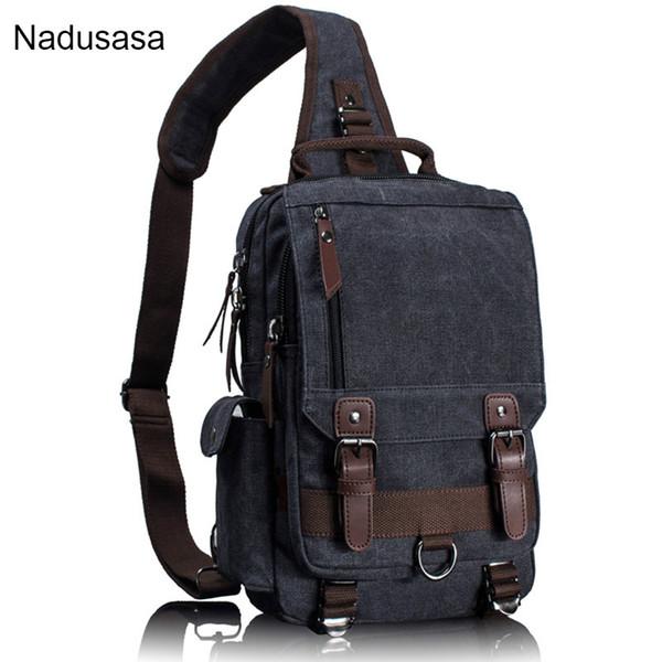 Nadusasa Canvas Crossbody Bags for Men Women Leather Messenger Chest Bag Shoulder Sling Bag Large Capacity Handbag