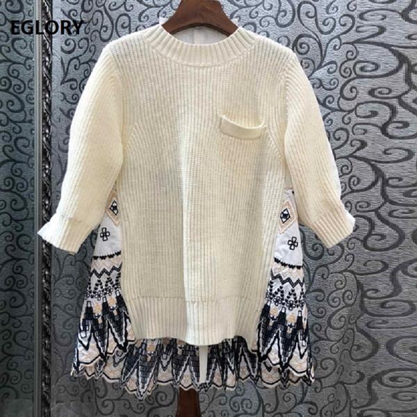 Tops Mode Pullover 2019 Herbst-Winter-Pullover Frauen-Weinlese-Stickerei-Patchwork 3/4 Hülsen-beiläufige gestrickte Pullover Damen