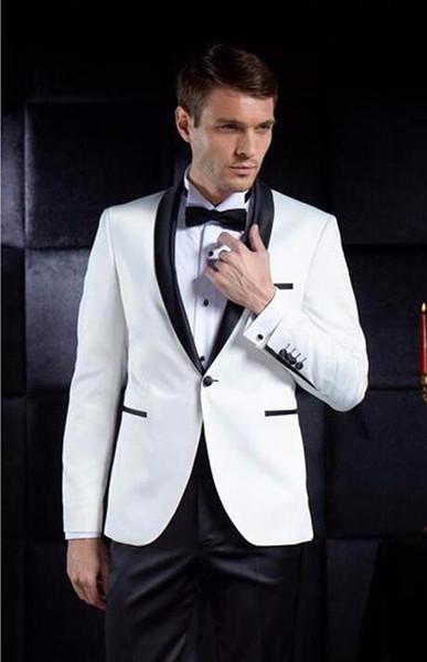 Chaqueta de lentejuelas para hombre Trajes de hombre blanco Novio Esmoquin terno Padrinos de boda Cena del banquete de boda Mejores trajes de hombre (chaqueta + pantalón + corbata)
