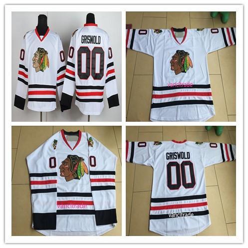 best selling Chicago Blackhawks Jerseys #00 Clark Griswold Jerseys Vintage White Cheap Blackhawks Clark Griswold Hockey Jerseys
