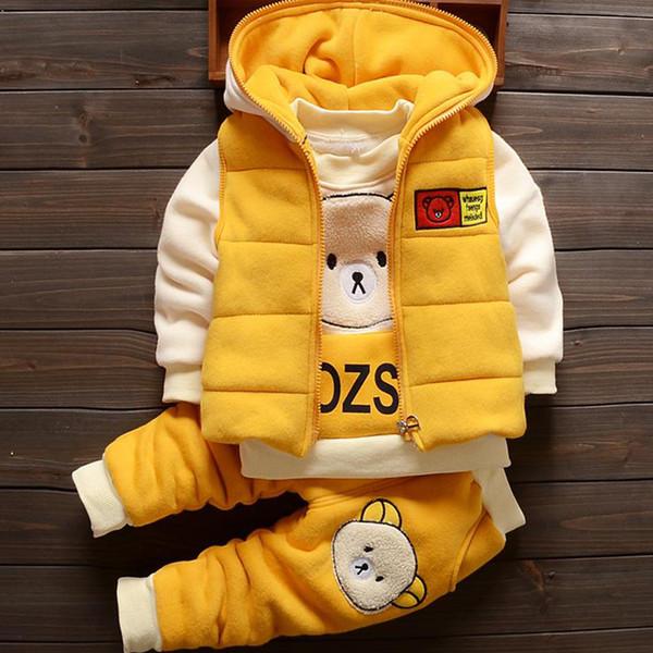 Детские Мальчики Рождество Осень теплая талии пальто + Толстовка + брюки 3шт Младенец Дети Дети Спорт костюм малышей Одежда