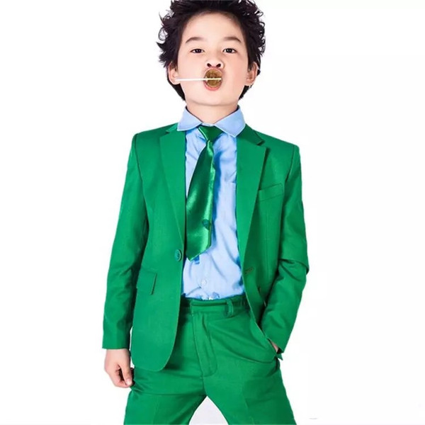 Brand New Green Boys Formal Occasion Tuxedos Notch Lapel Kids Wedding Tuxedos Child Party Holiday Blazer Suit (Jacket+Pants+Tie) 88