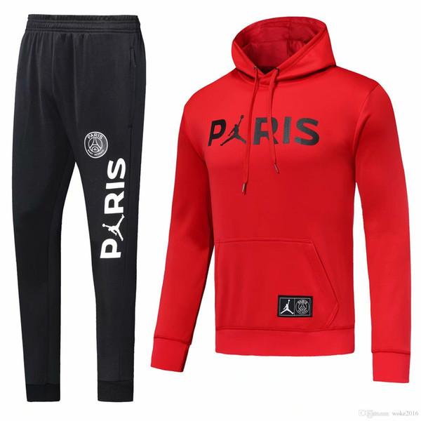 PSG adult hooded suit 2018/19 psg football sportswear red black white sweater hooded sports suit MBAPPEChampionSurvêtementpsg jersey jacket