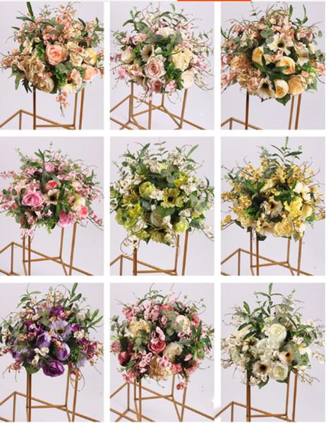 Düğün Centerpiece Için ipek Çiçek Topu Çiçek Raf Ev Oda Dekorasyonu Parti Malzemeleri DIY Yol Kurşun Zanaat Çiçek 9 Renk