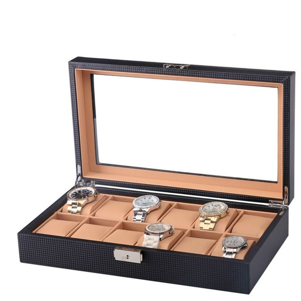 12 Watch Display Box Black Carbon Fiber Design with Glass Box Watch Organizer Wood PU leather Pillow Luxury Case Window