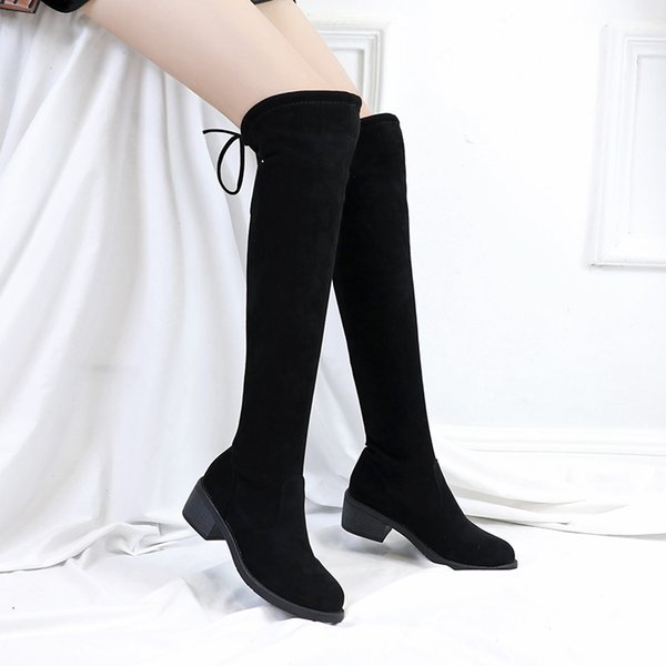 AARDIMI Fashion Over The Knee Boots Women Winter Boots Solid Square Heel Round Toe High Botas Casual Winter Shoes Ladies