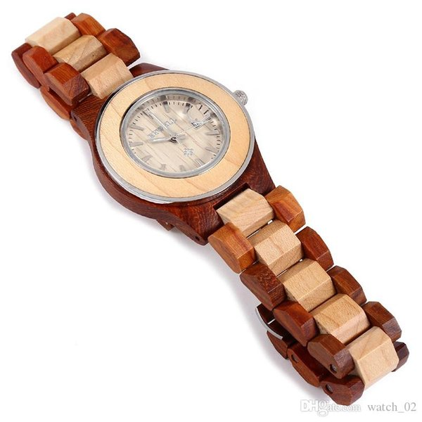 BEWELL New Women Analogue Quartz Wooden Watch with Wood Bracelet W100AL 1pcs/ free shipping