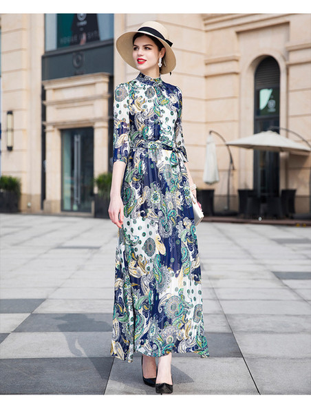 2019 Summer Autumn Women's Polyester Plus Size Retro Dress Floral 3/4 Sleeve Stand Collar Ankle-Length Long A-Line Woman's Dresses DZ2105