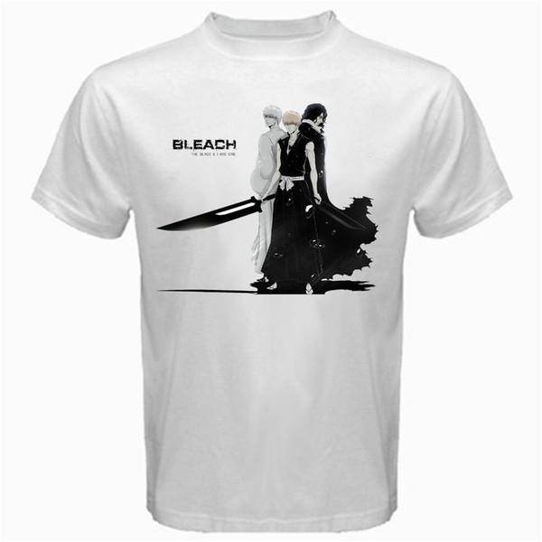 Bleach Blade y Ichigo Kurosaki Hollow Reaper Manga Anime Tshirt Camiseta de algodón blanco Camiseta de moda Envío gratis