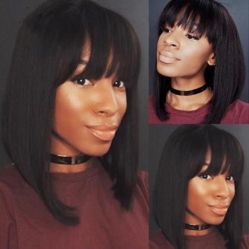 Slayedwig 150% Density 13x6 Lace Front Human Hair Wigs With Bangs Short Cut Bob Wig Brazilian Remy Hair Natural Black For Women