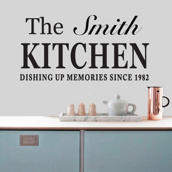 Kişiselleştirilmiş Aile Adı Mutfak Duvar Sticker Sanat Alıntı Çıkartması Vinil Yemek Odası