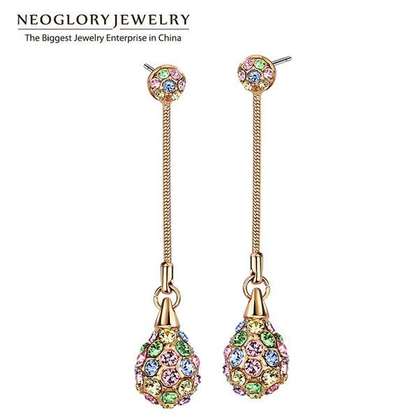 dangle earrings Neoglory Light Yellow Gold Color Charm Multi Colorful Long Dangle Earrings Women Fashion Shamballa Bohemian Jewelry 2018 New