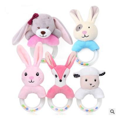 Baby Rattles Cartoon Plush Stuffed Animal Shaker Toy Ring Rattle Newborn Toys