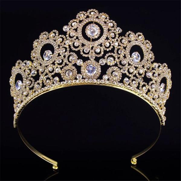 Luxe nuptiale Couronne strass fleur de mariage Tiara Reine Princesse Coiffe Coiffe Cristal Accessoires cheveux Femmes Head Porter Ornement