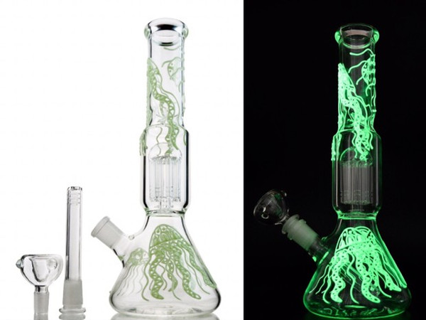 Straight Tube Bongs Glow in the Dark Glass Bong 6 Arms Tree Perc Water Pipe Diffused Downstem Beaker Dab Oil Rigs GID05