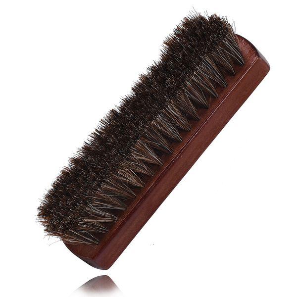 Cepillo de zapatos de crin con mango de madera Zapatos de tela multifuncionales Botas Cepillo Sofá Muebles Ropa Cuidado de cuero