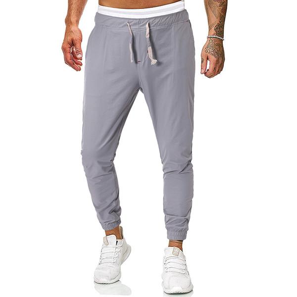HEFLASHOR 2019 erkek Pantolon Tam Boy Rahat Moda Düz Renk Uzun Kot Ince Pantolon Streetwear Joggers Pantolon Homme
