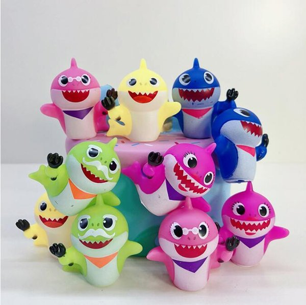 10pcs/Set 5-6cm Baby Shark Action Figure Toys Animal Dolls Popular Cartoon Baby Shark Model Christmas Gift Novelty Items CCA11342 10set