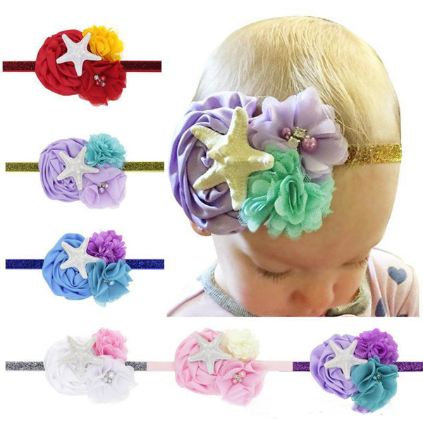 2019 Baby Headbands Princess Flower headbands kids starfish Rhinestone Headwear infants Elastic Hairbands Children hair accessories