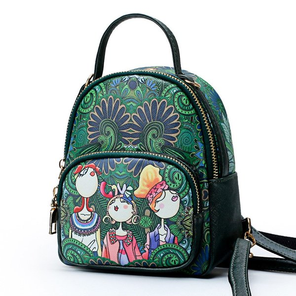 Forest Printing fresh style Backpacks Ladies shoulder bags Adjustable belt Crossbody Messenger Tote Mother's Day Gift- High Quality
