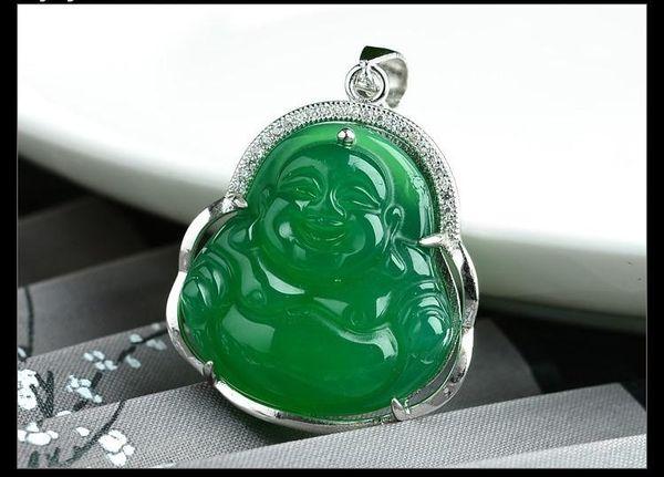 35/'/' Green Agate Black Pearl Chain Necklace Green Jade Buddha Pendant