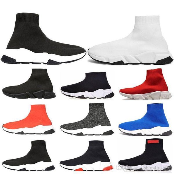 2019 neue Mode Männer Frauen Speed Trainer Mode Marke Socke Schuhe schwarz und weiß zu blau Glitzer flache Trainer Läufer Turnschuhe