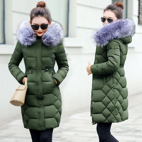 Big fur winter coat thickened parka women stitching slim long winter coat down cotton ladies down parka jacket women 2019