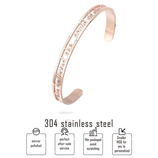 Nouveau bracelet creux en acier inspiré creux Elle croyait pouvoir le faire alors elle a ouvert les bracelets Pour les femmes Lettre Bijoux personnalisés