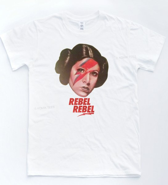 Leia Rebel Stardust T-shirt Bowie Star Indie Tee Retro Rebel Music Wars Cool Top size discout hot new tshirt Style Round Style tshirt